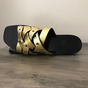 rag & bone Shoes - Rag and Bone Hartley Gold Leather Slides Sandals 9